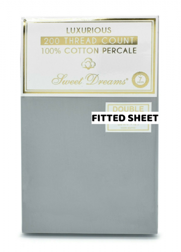 Hotel Quality Luxury 200 Thread Count 100% Pure Cotton Percale Fitted Sheet, Grey